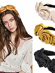 cheap -cloth flower flock padded headband spanish vintage style alice hair band matador headband (black+beige+ginger)