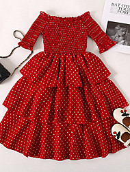 cheap -Kids Little Girls' Dress Red Polka Dot Special Occasion Birthday Party Ruched Wine Midi Half Sleeve Long Princess Sweet Dresses Children's Day Slim 1-5 Years