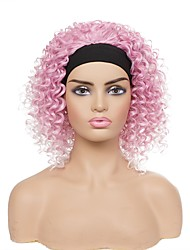 cheap -european and american headscarf wig ladies pink gradient color african small curly hair personalized fashion wig headgear