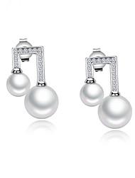 cheap -Women's Pearl Earrings Geometrical Fashion Stylish Earrings Jewelry White For Anniversary Gift Birthday Festival 1 Pair