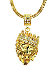 cheap -Men's Pendant Necklace Long Necklace Retro Lion Animal Precious Vintage Classic Punk Zircon Gold Plated Alloy Gold 76 cm Necklace Jewelry 1pc For Christmas Halloween Party Evening Street Gift