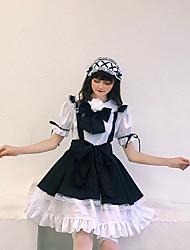 preiswerte -Lolita Lolita nette Art Kleid Damen Japanisch Cosplay Kostüme Schwarz Volltonfarbe Kurzarm / Schürze