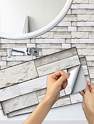 cheap -15*30cm 6pcs Imitation Stone Tiles Kitchen Bathroom Self-adhesive Paper Waterproof And Oil-proof Cloud White Slate Self-adhesive Decorative Wall Stickers