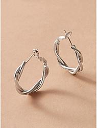 cheap -Women's Drop Earrings Hoop Earrings Earrings Twisted Simple European Trendy Earrings Jewelry Silver For Prom Vacation 1 Pair / Dangle Earrings
