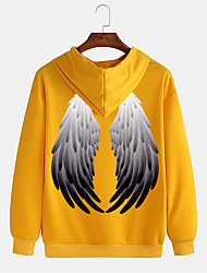 cheap -Men's Pullover Hoodie Sweatshirt Graphic Prints Wings 3D Hooded Sports & Outdoor Daily Sports Hot Stamping Basic Casual Hoodies Sweatshirts  Long Sleeve Yellow Green Black
