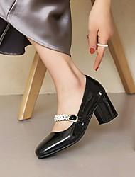 cheap -Women's Heels Cuban Heel Faux Leather Wine Almond Black