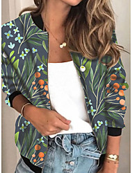 cheap -Women's Jackets Plants Print Casual Fall Jacket Regular Daily Long Sleeve Air Layer Fabric Coat Tops Rainbow