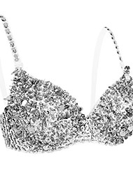cheap -feeshow women's tribal glitter sparkle belly dance beaded sequined bra top for rave cabaret party silver 36/80