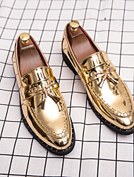 cheap -Men's Loafers & Slip-Ons Floral Patent Leather Penny Loafers Business Casual Classic Daily Party & Evening Walking Shoes Patent Leather Breathable Non-slipping Wear Proof Booties / Ankle Boots Gold