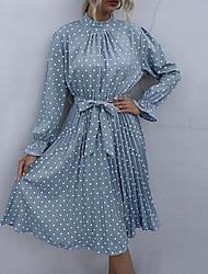 baratos -litb básico feminino dot vestido com babados uma linha manga longa cintura alta modelador de corpo verão sair
