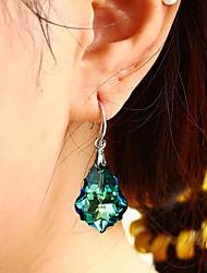 cheap -ladies s925 silver needle austrian crystal earrings color baroque leaf fashion earrings