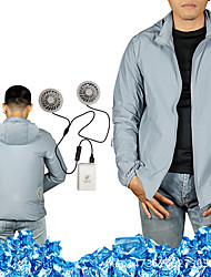cheap -Men's Hoodie Jacket Cooling Fan Jacket Outdoor Air Conditioning USB Rechargeable Lightweight Breathable Jacket Spring Summer Fishing Camping & Hiking Cycling / Bike White Silver / Long Sleeve