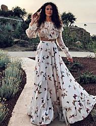 cheap -2020 summer european and american net red ins butterfly print two-piece bohemian big skirt long skirt beach dress
