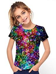 cheap -Kids Girls' Tee Short Sleeve Graphic Rainbow Children Tops Active 3-12 Years