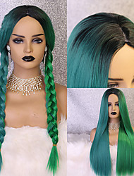 cheap -New Offer Blue Green Non-Lace Wig 24 Inch Straight Glueless Middle Part Synthetic Cosplay Braided Wig For Black Women