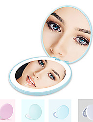 cheap -LED Makeup Mirror With Light Portable Pocket Mirror Double-click To Light Up 10 Times Magnification Small Mirror Usb Charging
