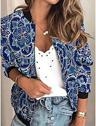 cheap -Women's Jackets Floral Print Sporty Spring Jacket Regular Daily Long Sleeve Air Layer Fabric Coat Tops Blue
