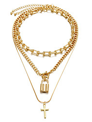 cheap -necklace jewelry simple lock pendant necklace retro  alloy necklace