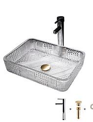cheap -The modern light luxury transparent art rectangular die-cast glass wash basin with faucet sink