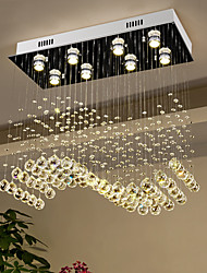 cheap -Crystal Chandelier Ceiling Light Luxury Wave Design 70cm Hot K9 Rectangle Hanging Lamp for Living Room Dining Room Crystal Chandelier Bar Island Cabinet Lamp Ceiling Pendant Lights