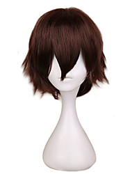 cheap -Short Straight Cosplay Wig Men Dark Brown Synthetic Hair High 100% Temperature Fiber Wigs