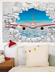 cheap -3D Broken Wall Blue Sky White Cloud Aircraft Home Corridor Background Decoration Can be Removed Stickers