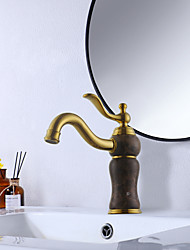 cheap -Bathroom Sink Faucet Luxury Stone Heavy Duty Style Single Handle Single Hole All Copper / Brass and Natural Coffee Marble Golden Sink Faucet Deck Mount Hot and Cold Mixer Taps Lavatory Vanity Faucets