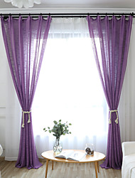 cheap -Two Panel Modern Simple Solid Color Imitation Linen Window Screen Living Room Bedroom Dining Room Translucent Thickened Screen Curtain Multi-Color Optional
