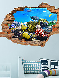 cheap -3D Broken Wall Sea Turtle Sea World Stereo Bedroom Living Room Background Decoration Can Be Removed Wall Stickers Wall Stickers for bedroom living room