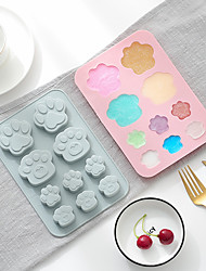cheap -Cake Mould Baking Mold 2 Pieces Silicone 10 Grid Cat Paw Soap Ice Tray Key Chain Mold Cold Insulation Heatproof Consisting Mold