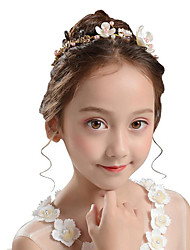 cheap -girls princess crown jewelry korea pearl hair accessories little girl flower girl evening dress accessories wreath hair hoop headdress