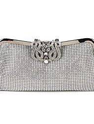 cheap -Women's Bags Polyester Evening Bag Crystals Chain Lattice Glitter Shine Party Event / Party Evening Bag Wedding Bags Handbags Black Gold Silver