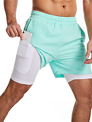 cheap -Men's Running Shorts Athletic Bottoms 2 in 1 with Phone Pocket Liner Fitness Running Jogging Training Exercise Moisture Wicking Quick Dry Breathable Normal Sport Solid Colored Black Red Blue Pink