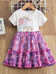 cheap -Kids Little Girls' Dress Graphic Print Blushing Pink Knee-length Sleeveless Active Dresses Summer Regular Fit 5-12 Years