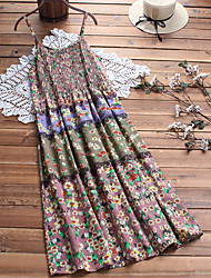 cheap -2019 summer new products women's cotton and linen floral sling skirt europe and the united states mid-length dress in stock