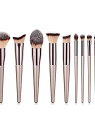 cheap -clearance deals 10pcs eyebrow foundation powder flame champagne gold handle makeup brush set