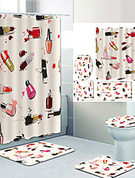 cheap -Artistic Lipstick Painting Digital Printing Four-piece Set Shower Curtains and Hooks Modern Polyester Machine Made Waterproof Bathroom