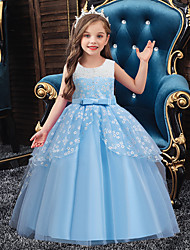 cheap -Ball Gown Asymmetrical / Floor Length Party / Formal Evening Flower Girl Dresses - Lace / Satin / Polyester Sleeveless Jewel Neck with Sash / Ribbon / Bow(s) / Ruffles