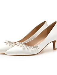 cheap -Women's Wedding Shoes Stiletto Heel Pointed Toe Satin Rhinestone Imitation Pearl Solid Colored Almond White Black