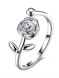 cheap -Ring Geometrical Silver S925 Sterling Silver Roses Fashion 1pc Adjustable / Women's