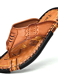cheap -Men's Slippers & Flip-Flops Crochet Leather Shoes Flip-Flops Casual Beach Daily Outdoor Nappa Leather Cowhide Breathable Handmade Non-slipping Booties / Ankle Boots Black Khaki Brown Spring Summer