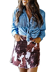 cheap -2021 cross-border spring and summer denim shirt women's tassel independent station europe and the united states sexy denim shirt amazon cardigan top