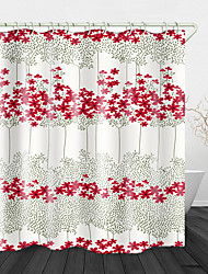 cheap -Continuous Flowers Print Waterproof Fabric Shower Curtain for Bathroom Home Decor Covered Bathtub Curtains Liner Includes with Hooks 72 Inch