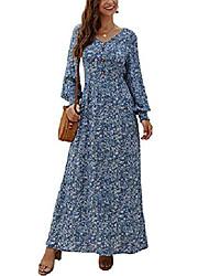 cheap -lanisen womens long sleeve bohemian floral buttons decor side split party long maxi dress blue xl