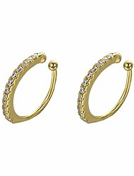 cheap -yoursfs yellow gold plated sterling sliver 925 minimalist cartilage hoop ear cuff for non pierced ears with cz crystal earrings