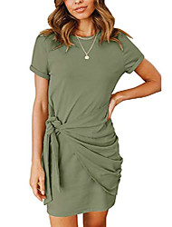cheap -merokeety womens solid color short sleeve tee dress comfy front tie mini dress for loungewear armygreen
