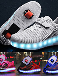 cheap -Boys' Girls' Sneakers LED Shoes USB Charging PU Little Kids(4-7ys) Big Kids(7years +) Daily Walking Shoes Glowing Luminous White Black Blue Pink Spring Fall