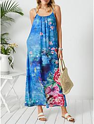 cheap -summer european and american women's blue digital print big swing skirt high waist suspender skirt long skirt amazon dress stand-alone stand