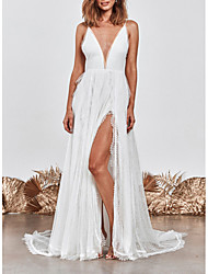 cheap -A-Line Wedding Dresses V Neck Sweep / Brush Train Lace Spaghetti Strap Simple Beach Boho Little White Dress Backless with Split Front 2021