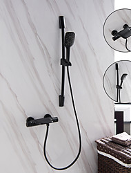 cheap -Bathtub Faucet - Bathroom Thermostatic Faucet Contemporary Matte Black Color Painted Finishes Wall Mounted Ceramic Valve Bath Shower Mixer Taps with Lifting Slide Bar